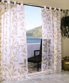 Khaki Escape Leaf Outdoor Voile Curtain Panel