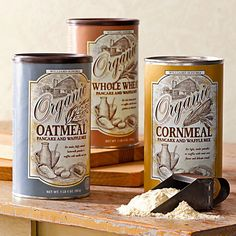 Would like canisters of oatmeal rice and corn like this would look really cute in my glass cabinets in my dream kitchen