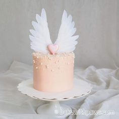 Angel Birthday Cake Photos Angel Wings Cake Bake With Paws Birthday Cake Girls, Birthday Cupcakes, Birthday Angel, Cotton Cake, Valentine Cake, Valentines, Swiss Meringue Buttercream, Buttercream Cake Designs, Angel Cake