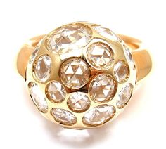 NEW! AUTHENTIC POMELLATO HAREM 18K YELLOW GOLD ROCK CRYSTAL RING sz 5 #Pomellato #Cocktail