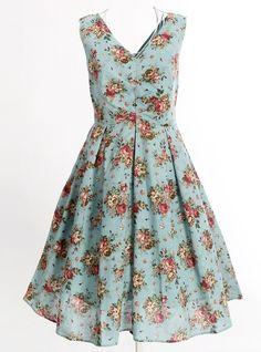 summer spring dress novelty floral print dresses party prom retro vintage design european style rose flower revival 50's 60's