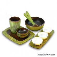 Enrico Mango Wood Honeycomb Set/6 - Avocado – Modish Store