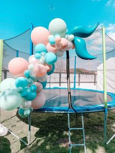 Mermaid Fin Balloon Install from a Turquoise and Pink Mermaid Birthday Party on Kara's Party Ideas | KarasPartyIdeas.com (27) Girls Birthday Party Themes, Pink Birthday, Mermaid Birthday, Birthday Parties, 8th Birthday, Mermaid Balloons, Bubble Balloons, Mermaid Party Decorations, Mermaid Parties