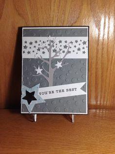 Stampin Up star die & star border punch, Papertrey tree die, EK star punch, Hero Arts sentiment, Echo Park random dots embossing folder.