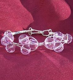 FREE S - Bracelet - Wire Wrapped Pink Faceted Beads & Silver - A JewelryArtistry Original -BR76