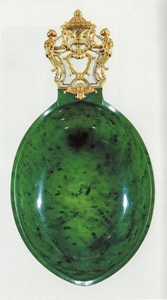 "Fabergé Jade Kosch – An oval, boat shaped, long ceremonial drinking cup with golden handle with diamonds and a ""NII"" monogram. This was a gift of the tsar Nicolas II to Ambassador Boutiron, the French ambassador to Russia in des Arts Décoratifs in Paris). Tsar Nicolas Ii, Tsar Nicholas, Faberge Jewelry, Antique Perfume Bottles, Faberge Eggs, Egg Art, Russian Art, Objet D'art, Mason Jars"