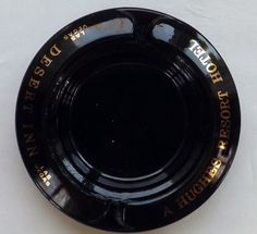 Desert Inn Country Club Las Vegas Strip Black Glass Hughes Hotel Round Ashtray #ASHTRAY