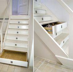 Storage drawers in stair risers