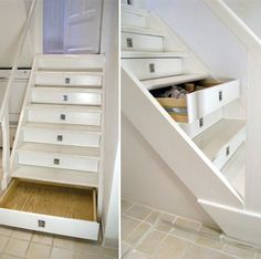 "Storage drawers in stair risers.  Since we're going to have to rework our stairs when we remove carpet and have hardwood installed, I might look at doing this.  I wouldn't want such obvious pulls; perhaps heavy duty ""push"" spring-loaded openers.  Thinking..."