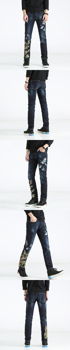 28-38 !!! 2017 American and European embroidery jeans male character is especially slim and thin elastic blue