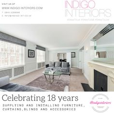 @indigointeriors celebrating 18 years installing furniture, curtains, blinds and accessories #DressToLet #DressToSell #DressToLive #INDIGOIS18