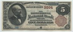 Middleborough, MA - Ch. 3994 - $5 1882 Brown Back There was only one national bank in Middleborough. It was open from 1889 until 1916. The five dollar brown back being offered here brings the census for the bank to a total of five notes. This is the first time a note from Middleborough has been offered for sale since 1990. So an entire generation of collectors has never had a chance to add this Plymouth County town to their holdings. The note is an absolute peach.