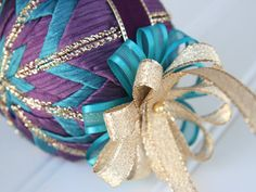 Quilted Christmas Ornament Ball/Teal Purple by YouniqueOrnaments