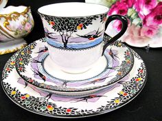 Antique hand painted porcelain teacup, saucer cake plate. English fine china tea cup, 1900-1940. Early 20th century china teacup.