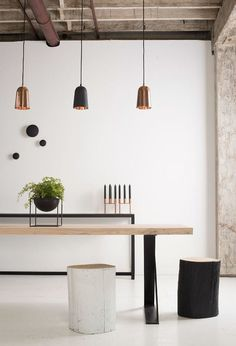 Hudson Dining Table and Muuto Nerd Oak Dining Chairs. Muuto Black Dots on the Wall as well as By Lassen Kubus Candleholders and Kubus Bowls. All available in our online boutique! Canapé Design, Modern Design, House Design, Wooden Dining Tables, Modern Dining Chairs, Wood Chairs, Interior Styling, Interior Decorating, Nordic Interior