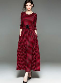 572a0c77a4 Trendy Red Plaid All-matched Maxi Dress Without Pocket