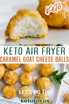 An elegant holiday appetizer, these caramel covered air fryer keto goat cheese balls contain only a few simple ingredients. Creamy goat cheese is covered with a gluten free coating and fried in an air fryer to create a crispy bite. Then finished with a sugar-free caramel syrup. These keto goat cheese balls are coated with a gluten-free crust made up of almond flour and ground pork rinds. | KetoFocus @ketofocus #ketoappetizers #ketogamedayfood #ketopartyfood #ketofocus Goat Cheese Ball Recipe, Goat Cheese Recipes, Keto Cheese, Pork Rind Recipes, Appetizer Recipes, Fun Appetizers, Canapes Recipes, Fried Goat Cheese, Keto Donuts