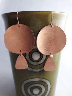 geometric dangle earrings copper dangly earrings boho earrings long copper earrings drop earrings rustic earrings organic copper earrings by DandyLionDesignsShop on Etsy