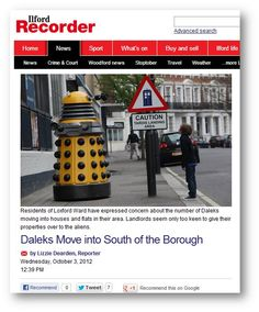 Write a response to this news story. What would happen if Daleks moved into your town/city?