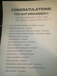 Congratulation letter for getting grounded.  With options for earning points to earn buying off the grounding