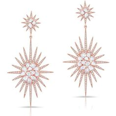 Anne Sisteron  14KT Rose Gold Diamond Double Fireburst Drop Earrings (119.830 ARS) ❤ liked on Polyvore featuring jewelry, earrings, accessories, brincos, rose, rose gold jewellery, rose diamond earrings, drop earrings, earring jewelry and rose jewelry