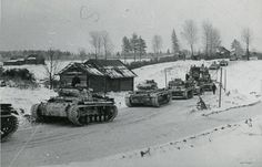 Original photos of a whitewashed Panzer III tank column from the 12th Panzer Division in Russia