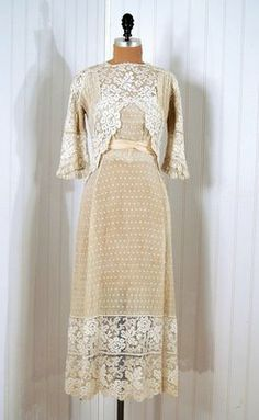 House of Harps: 1910's ivory lace tea-dress. Front