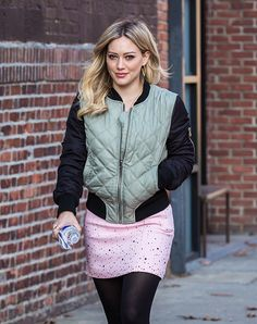 Hilary rocking this cute skirt on set.   From the creator of Sex and The City, 'Younger' stars Sutton Foster, Hilary Duff, Debi Mazar, Miriam Shor and Nico Tortorella. Discover full episodes at http://www.tvland.com/shows/younger.