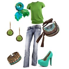 Green and Blue, created by charlotte on Polyvore