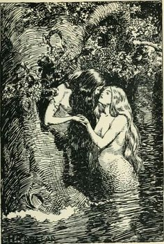 ~ 'The Nymph caught the Dryad in her arms.', The New World Fairy Book by Howard Angus Kennedy. Illustration by H.R. Millar, London, J.M. Dent & Co., 1904