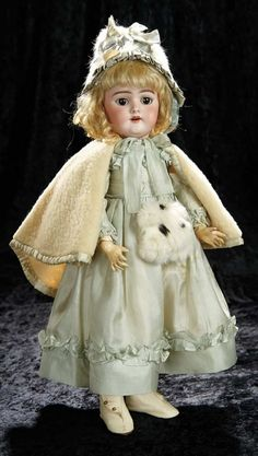 Soirée: A Marquis Cataloged Auction of Antique Dolls and Automata - May 14, 2016: Lot 128. German Bisque Child, 109, by Handwerck in Pretty Original Costume
