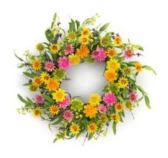 Spring Floral Zinnia Wreath Bright Zinnia wreath with soft green foliage All stems on this wreath are wired for easy shaping upon arrival Suitable for inside or outside in a protected Area This wreath adds a touch of warmth to any room or door Faux Flowers, Silk Flowers, Silk Flower Arrangements, Zinnias, Gerbera, Merry And Bright, Daisy, Floral Wreath, Melrose International