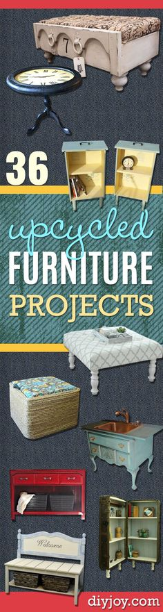 Upcycled Furniture Projects - Repurposed Home Decor and Furniture You Can Make On a Budget. Easy Vintage and Rustic Looks for Bedroom, Bath, Kitchen and Living Room. http://diyjoy.com/upcycled-furniture-projects