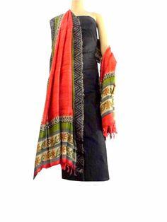 Silk Kurta & Block-Print Gheecha Silk Dupatta Set- Black&Red:This  kurta dupatta set brings together a raw silk kurta piece and gheecha silk d