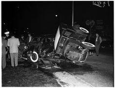 Hot rod accident at Bellevue Avenue and Silverlake Boulevard, one goes into the other, and both hit third one, 25 March 1952.