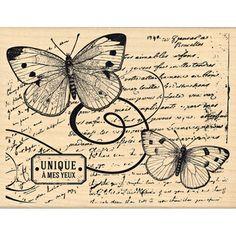 Tampon bois - Envolée de Douceur - Vol de papillon - 12 x 9,5 cm