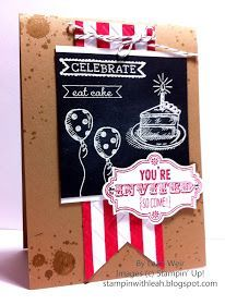 Party Invitation. Chalkboard technique. Stampin' Up! Sketched Birthday stamp set.