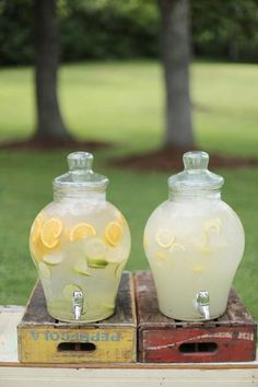 lemonade station / cucumber / lemons / dispensers / vintage boxes