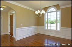 what to do around the outside of windows | One of the easiest do it yourself treatments, ladder rail wainscoting ...