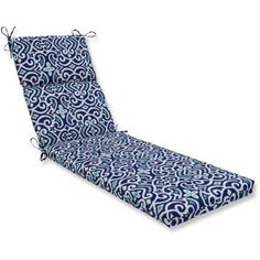 Pillow Perfect Outdoor/Indoor New Damask Marine Chaise Lounge Cushion