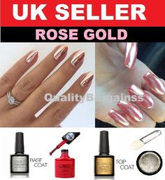 ROSE GOLD CHROME HOLO POWDER MIRROR NAILS NO WIPE TOP COAT RED UV GEL PIGMENT UK #Unbranded
