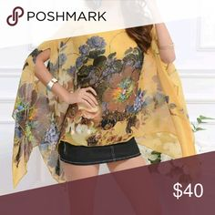 Bohemian Oversized Batwing Top Bohemian Oversized Batwing Chiffon Top. Vintage Style Print.   This is NWOT Retail Price Firm Unless Bundled.  Measurements Available Upon Request. Tops Blouses