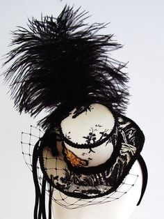 French Toile Mini top hat fascinator 'The Lovers'