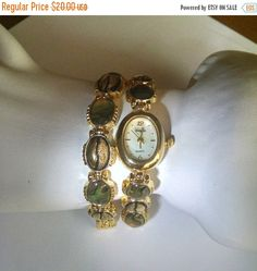 Watch and Bracelet Set by VanityFair Abalone Gold Tone Vintage Jewelry Jewellery Gift Guide Women New Battery Needed