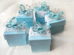 blue butterfly favor box wedding bridal shower by FavorsForAll1509