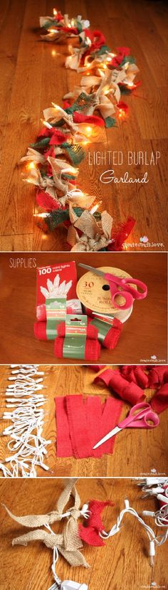 Lighted Burlap Garland, all you need is 100 ct mini lights, burlap and scissors! #diy #holiday #decorate #lights