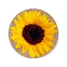 Rustic Sunflower Burlap Sticker Envelope Seals