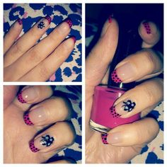 #nails #butterfly #dots #pinknails #blackdots