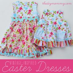 DIY Vintage Inspired Easter Dresses by The DIY Mommy   The PERFECT coordinating sister dresses. Seriously, don't think they can get any better!
