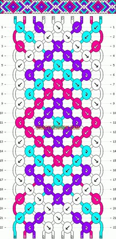 Normal Friendship Bracelet Pattern #5637 - BraceletBook.com